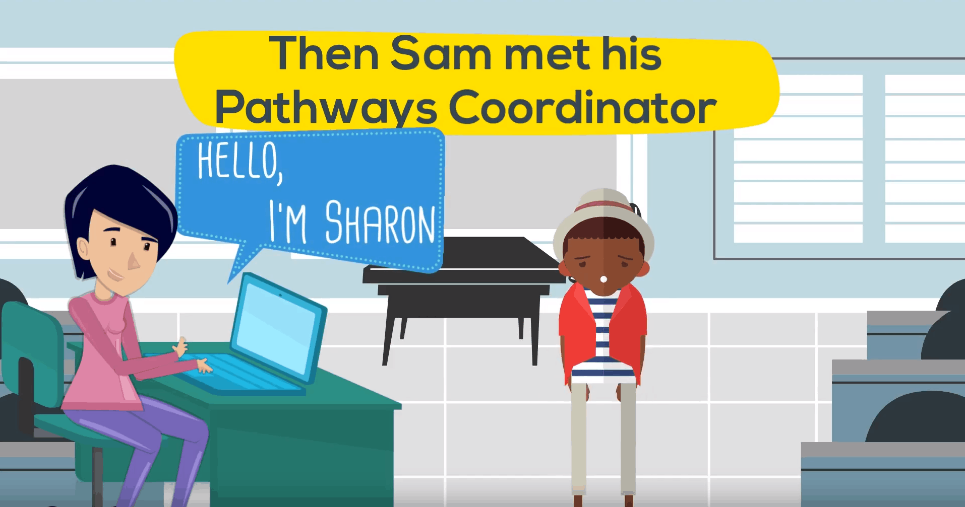 Illustration of young person meeting their pathway coordinator.