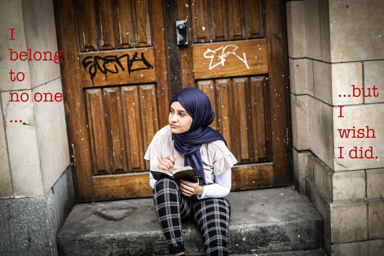 Aamina's photot: Inspired by being in care and the feeling that you don't belong to anyone.